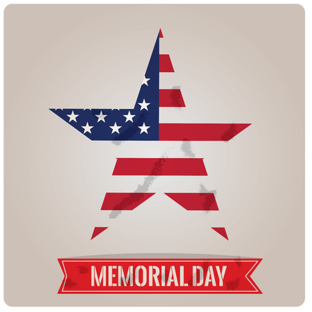 fallen: Isolated star with the american flag and a ribbon with text for memorial day Illustration