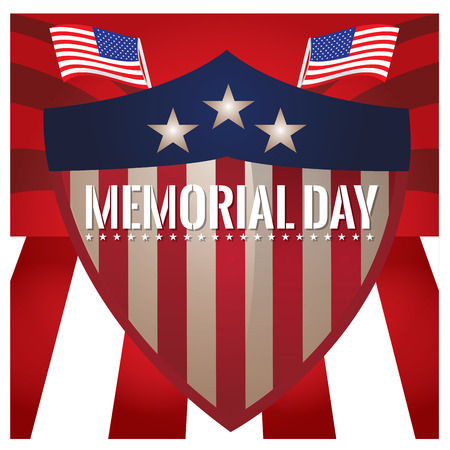 fallen: Colored background with american flags and a heraldry shield for memorial day
