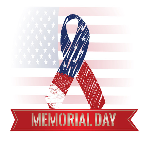 Colored background with a ribbon with text, a peace symbol and the american flag for memorial day