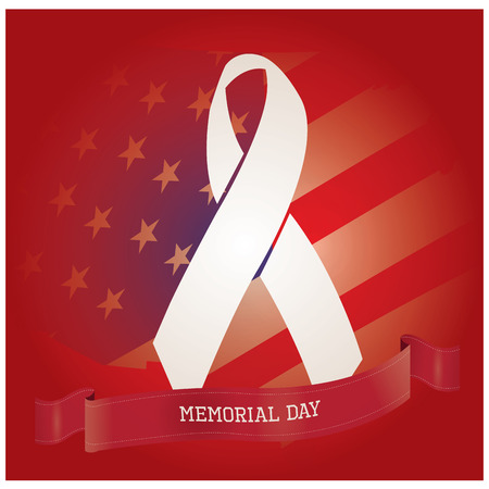a memorial to fallen soldiers: Colored background with a ribbon with text, a peace symbol and the american flag for memorial day