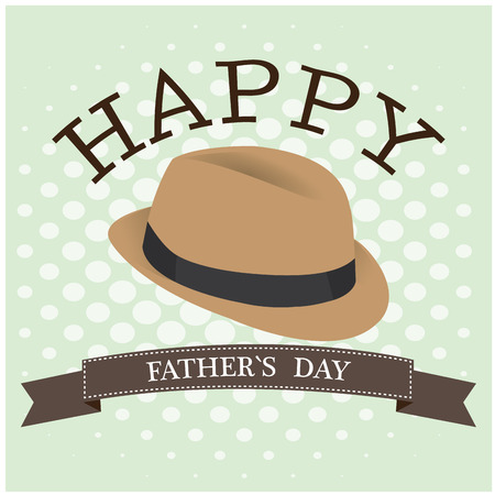 Textured background with a ribbon, text and a hat for fahter's day Vectores