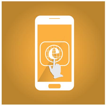 cellphone in hand: Isolated silhouette of a cellphone with a hand mouse and an icon on an orange background