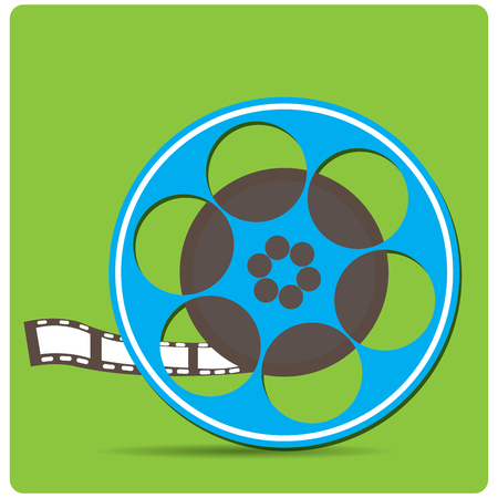 cine: Isolated cinema tape on a colored background
