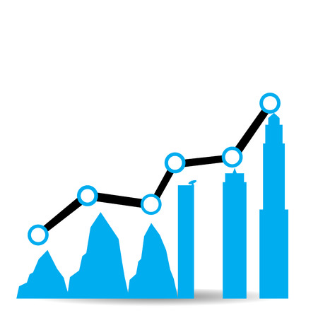 achievement clip art: Isolated business graph with silhouettes of mountains and buildings on a white background