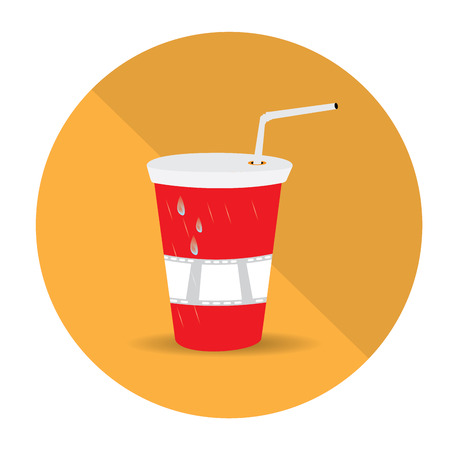 cine: Isolated yellow button with a cold cinema drink on a colored background