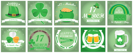 the irish image collection: Set of saint patricks backgrounds with text and different objects