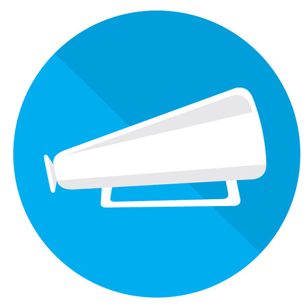 cine: Isolated blue button with a silhouette of a megaphone on a colored background
