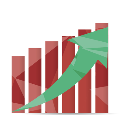 achievement clip art: Isolated business graph with texture, an arrow and bars Illustration