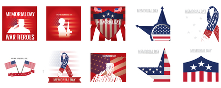 fallen: Set of different banners and backgrounds with different elements and text for memorial day