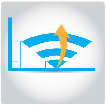 achievement clip art: Isolated business graph with an arrow and bars on a grey background Illustration