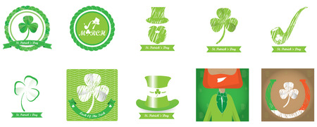 Set of saint patricks backgrounds and banners with text and different objects