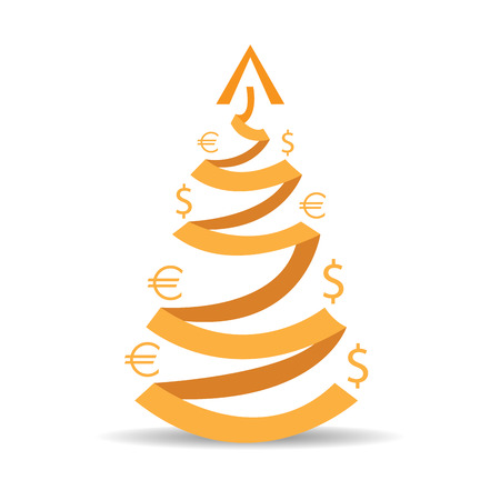 achievement clip art: Isolated ribbon with a tree shape and money symbols on a white background Illustration