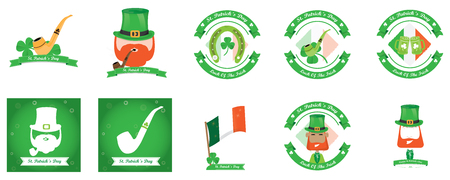 the irish image collection: Set of saint patricks backgrounds and banners with text and different objects