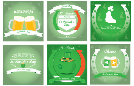 Set of saint patricks backgrounds with text and different objects