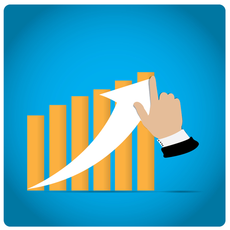 profit graph: Blue background with a profit graph and a hand with an arrow