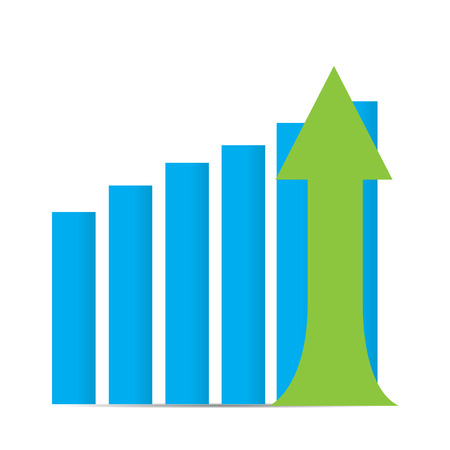 achievement clip art: Isolated business graph with bars and an arrow
