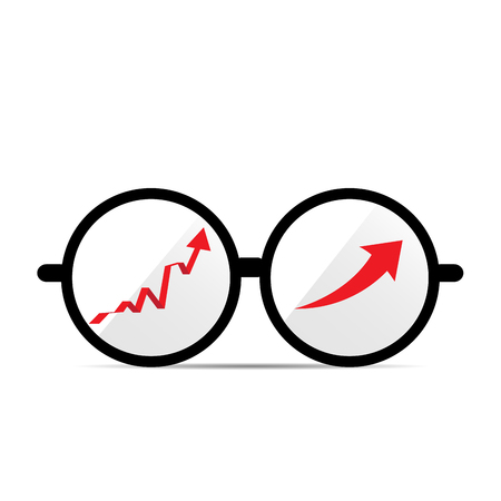 achievement clip art: Isolated glasses with a pair of graphs on a white background