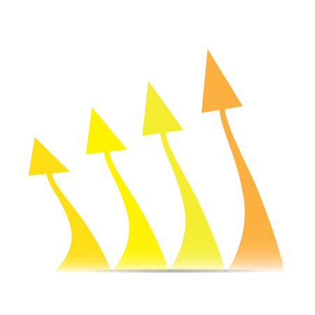 achievement clip art: Group of arrows making a business graph on a white background