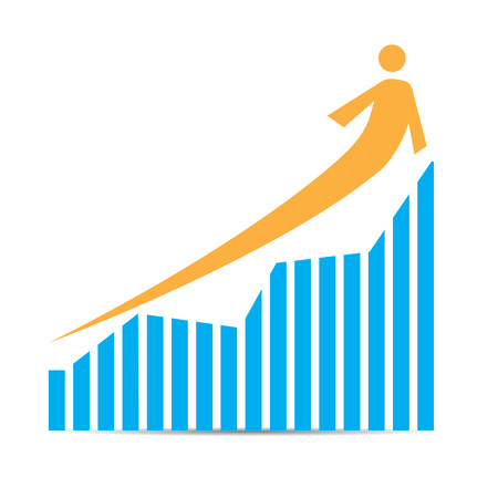 achievement clip art: Isolated business graph with bars and an arrow on a white background
