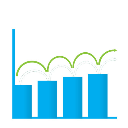achievement clip art: Isolated business graph with bars on a white background Illustration