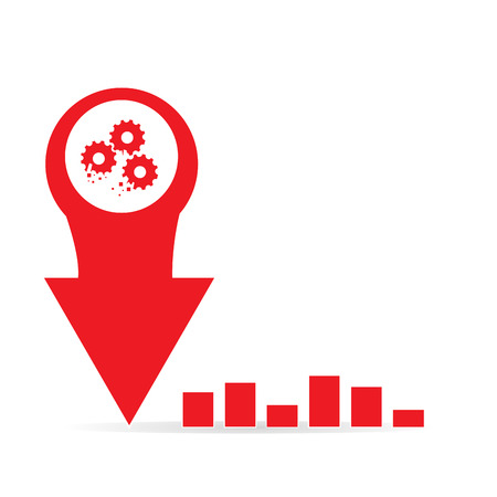 achievement clip art: Isolated business graph with an arrow, gear and bars