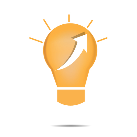 achievement clip art: Isolated lightbulb with an arrow on a white background Illustration