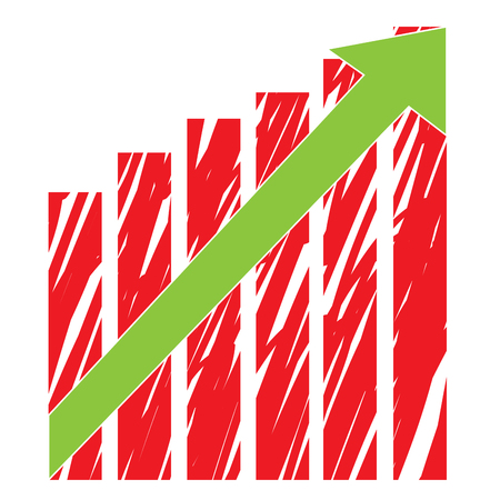 achievement clip art: Isolated business graph with texture, bars and an arrow