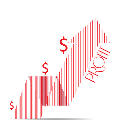 achievement clip art: Isolated textured graph with an arrow and money symbols on a white background