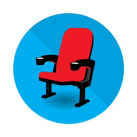 spectator: Isolated blue button with a spectator chair on a colored background