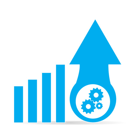 achievement clip art: Isolated business graph with bars, gears and an arrow