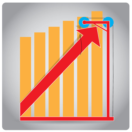 profit graph: Grey background with a profit graph, bars and an arrow