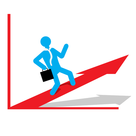 achievement clip art: Isolated business graph with an arrow and a businessman Illustration