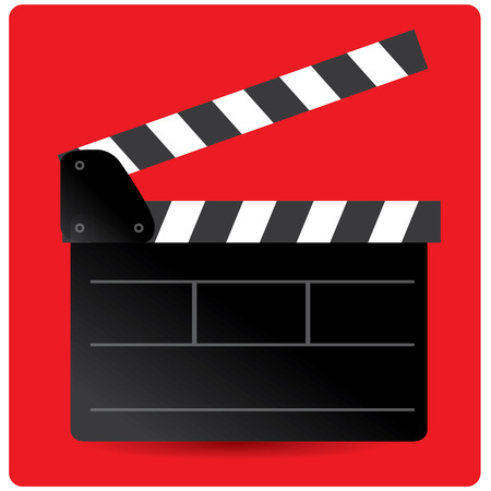 cine: Isolated clapperboard on a colored background Illustration