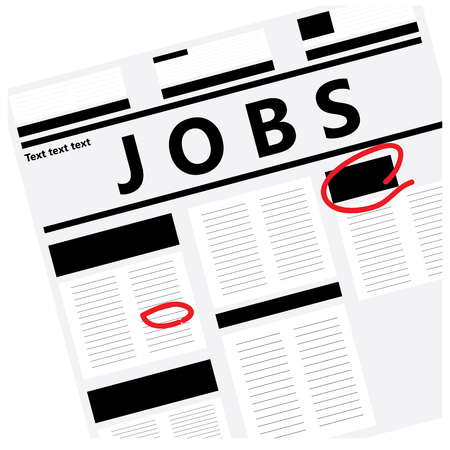White background with a newspaper and text for job search