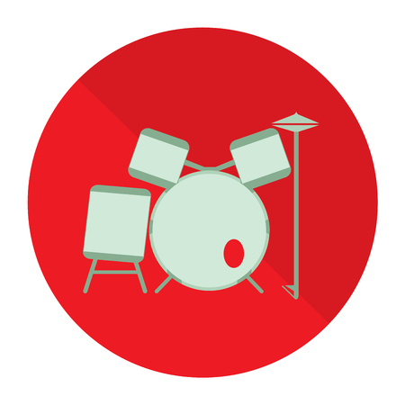 red drum: Isolated drum set on a red button on a white background