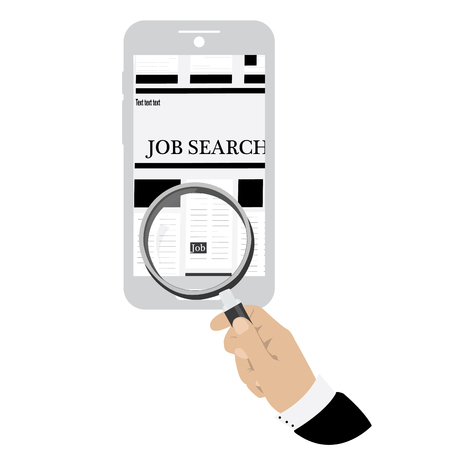cellphone in hand: Isolated hand holding a magnifying glass searching for a job on a cellphone