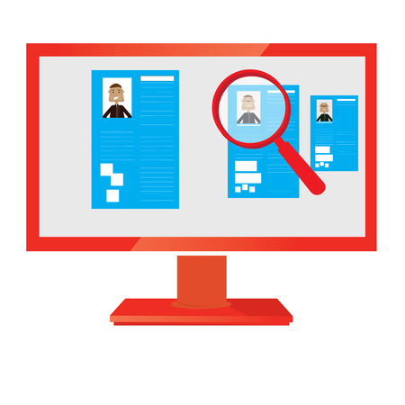 searches: Isolated computer monitor with a magnifying glass for job searches Illustration