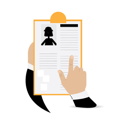 the applicant: Isolated pair of hands holding a paper of a job applicant on a white background