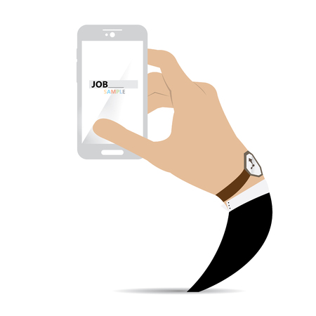 cellphone in hand: Isolated hand holding a cellphone searching for a job Illustration