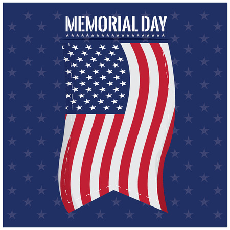 white flag: Blue background with stars, the american flag and text for memorial day