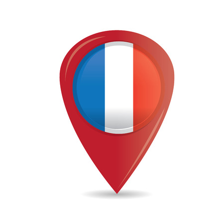 french flag: Isolated pin with the french flag on a white background