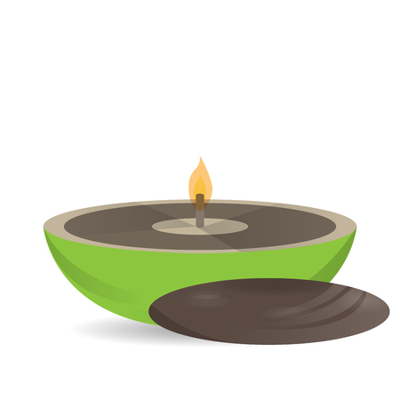 massage symbol: Isolated stone and a candle on a white background