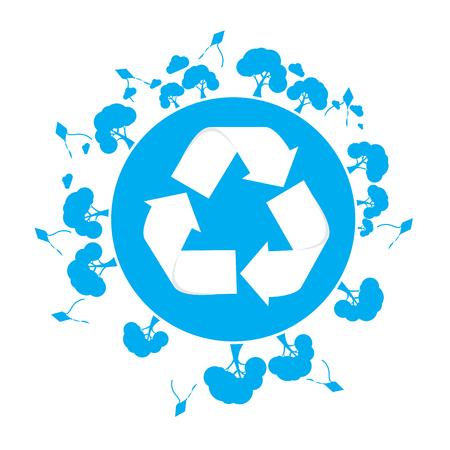 reciclable: Silueta aislados de nuestro planeta con un símbolo y árboles reciclables