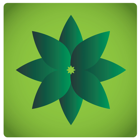 massage symbol: Isolated green flower on a green background Illustration