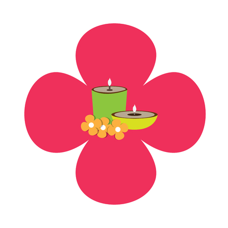 massage symbol: Isolated flower shaped sticker with a pair of candles and flowers