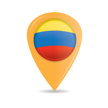 colombian flag: Isolated pin with the colombian flag on a white background Illustration