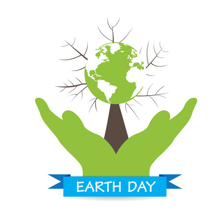 hands holding tree: Isolated pair of hands holding a tree with our planet on a white background Illustration