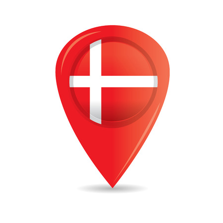 danish: Isolated pin with the danish flag on a white background