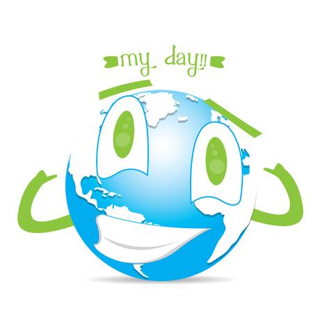 happy planet earth: Aislado feliz planeta tierra sobre un fondo blanco