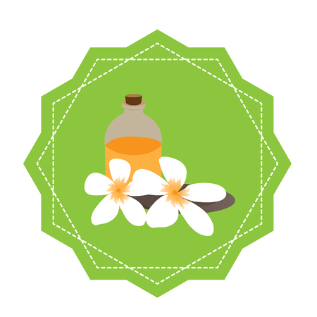 group therapy: Isolated green sticker with flowers, stones and a lotion